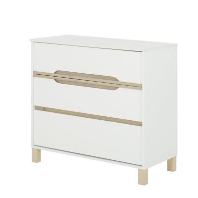 Celeste συρταριέρα με 3 συρτάρια 95x46x87εκ. Λευκό - Natural chestnut