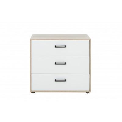 Kylian Συρταριέρα με 3 συρτάρια 81x41x73εκ. Λευκό / Sonoma