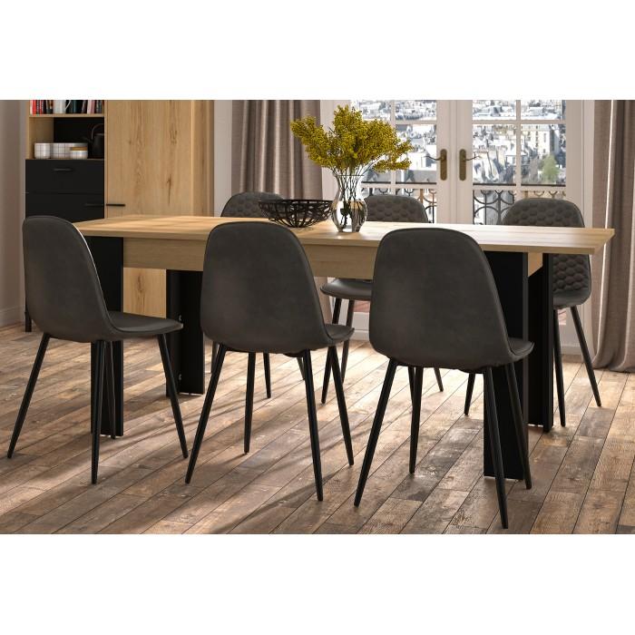 Trust Τραπέζι επεκτεινόμενο 160(200)x90εκ. Δρυς / Μαύρο