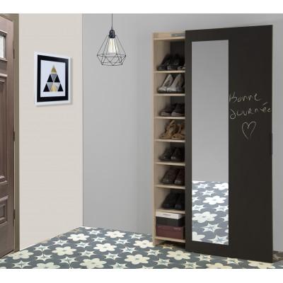 Adam Παπουτσοθήκη με συρόμενη πόρτα με καθρέφτη 70x38x180εκ. Natural Chestnut/Black