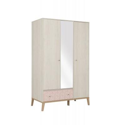 Alika Ντουλαπα με καθρέφτη 126x58x201εκ. 3 πόρτες 1 συρτάρι Whitewashed Chestnut/ Coral and Grey Print