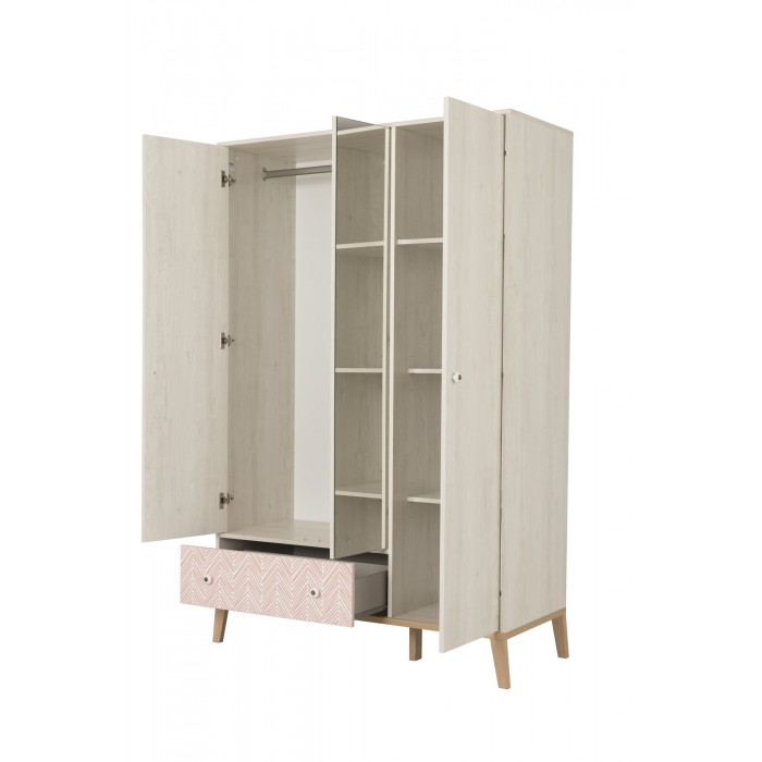 Alika Ντουλαπα με καθρέφτη 126x58x201εκ. Whitewashed Chestnut/ Coral and Grey Print