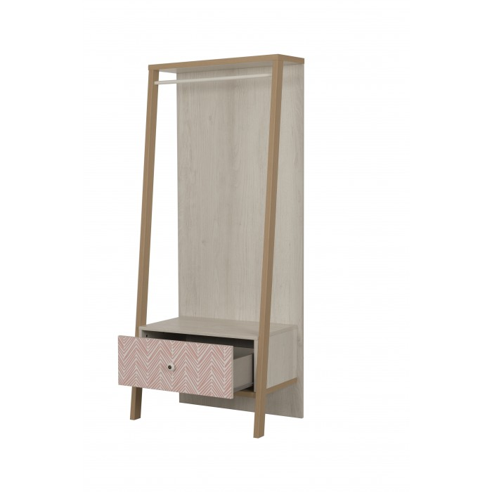Alika Ανοιχτή ντουλάπα με συρτάρι 69x46x168εκ.  Whitewashed Chestnut/Coral print