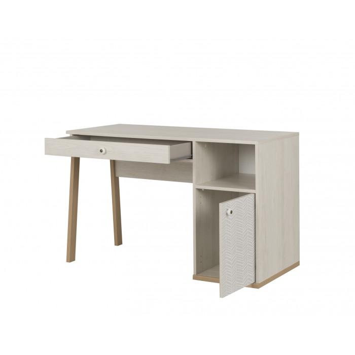 Alika Γραφείο με 1 συρτάρι και 1 πόρτα Whitewashed Chestnut/Grey Print