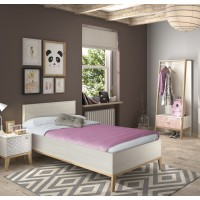 Alika κρεβάτι μονό 99x210x86εκ. ( για στρώμα 90x200εκ. ) Whitewashed Chestnut/Beech με ανατομικό πλαίσιο