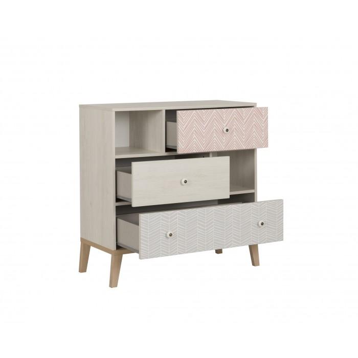 Alika Συρταριέρα με 3 συρτάρια 94x41x95εκ. Whitewashed Chestnut/Grey & Coral print