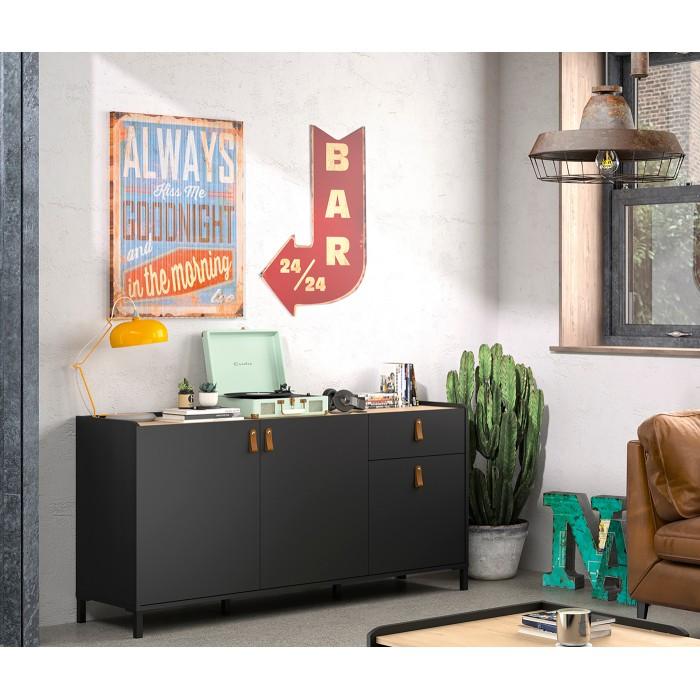Amsterdam Mπουφές με 3 πόρτες και 1 συρτάρι 160x45x79εκ. Natural Chestnut / Black