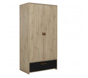 Arthus Ντουλάπα με 2 πόρτες & 1 συρτάρι 102x60x200εκ. Artisan Oak / Black