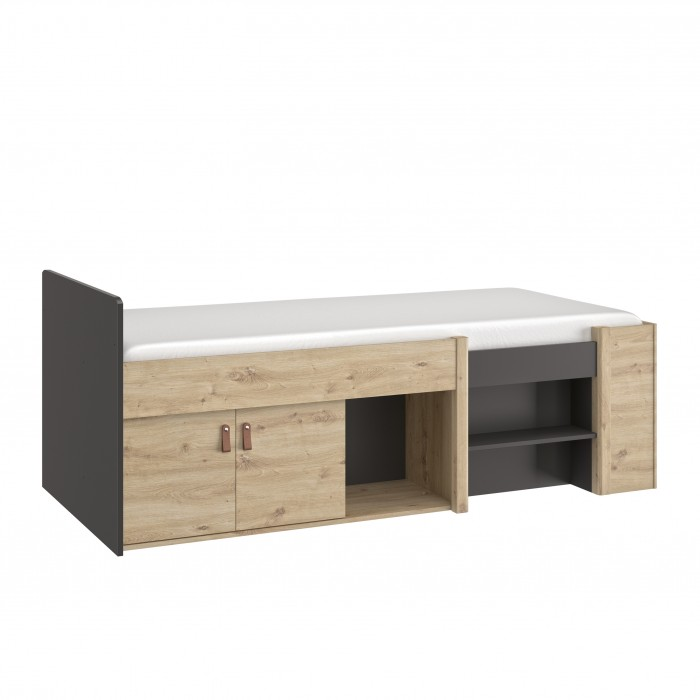 Arthus πολυμορφικό ψηλό κρεβάτι με αποθηκευτικούς χώρους Artisan Oak/Black
