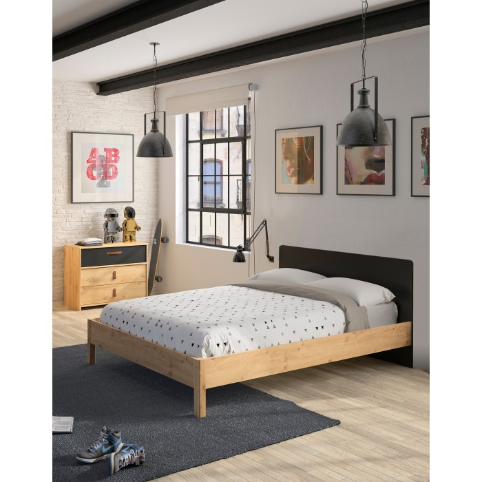 Arthus κρεβάτι ημίδιπλο 126x207εκ. ( για στρώμα 120x200εκ. ) Artisan Oak/Black
