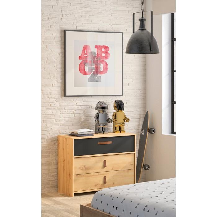 Arthus συρταριέρα με 3 συρτάρια Artisan Oak/Black 85x61εκ.