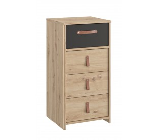 Arthus Συρταριέρα ψηλή με 4 συρτάρια 44x41x87εκ. Artisan Oak / Black