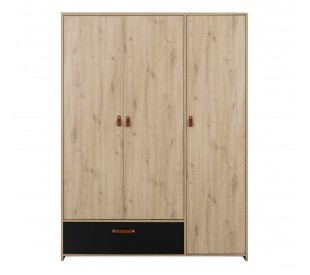Arthus Ντουλάπα με 3 πόρτες & 1 συρτάρι 152x60x200εκ. Artisan Oak / Black