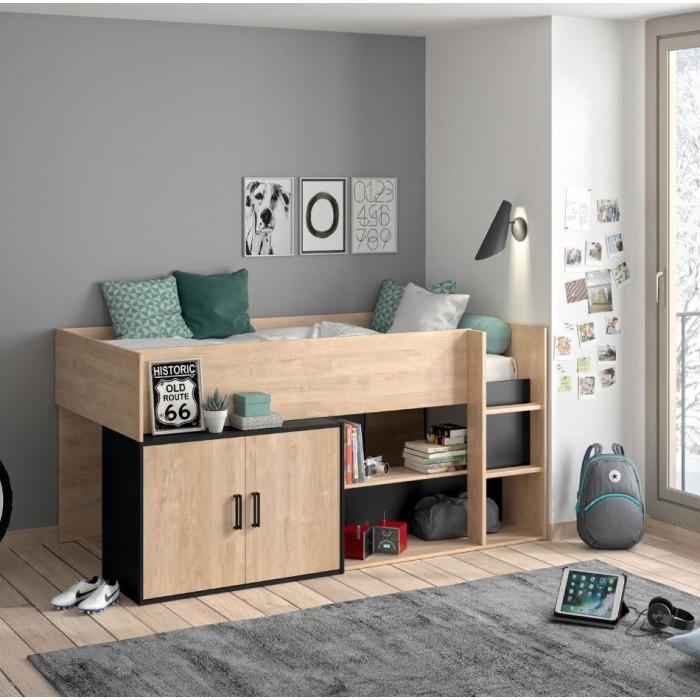 Arz κρεβάτι πολυμορφικό 204x111εκ. ( για στρώμα 90x200εκ. ) Blond Oak/Black   ΠΑΙΔΙΚΑ-ΕΦΗΒΙΚΑ ΚΡΕΒΑΤΙΑ , insidehome.gr