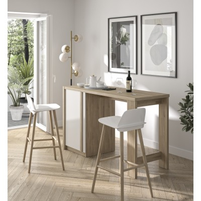 Aston Τραπέζι Bar ψηλό 140x61x91εκ. Light Kronberg Oak / White