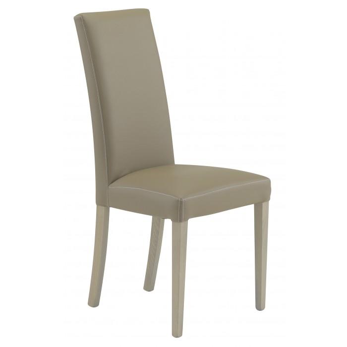 Ava καρέκλα ξύλινη 48x56x100εκ. Taupe τεχνόδερμα / Γκρι δρυς πόδια