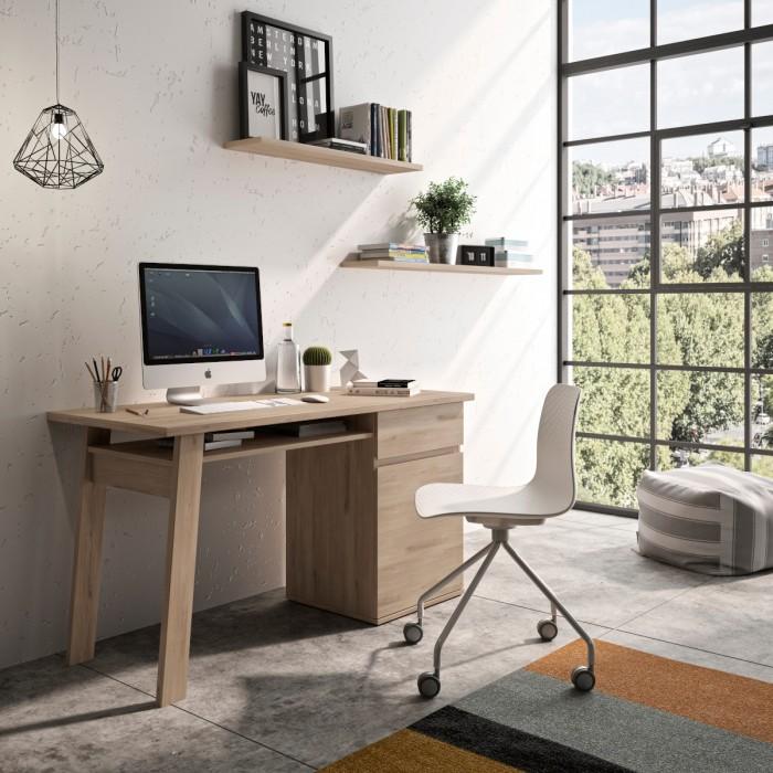 Balikhan Γραφείο με 1 ντουλάπι και 1 συρτάρι 136x60εκ. Light Oak ΓΡΑΦΕΙΑ, insidehome.gr
