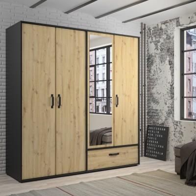Bandol Ντουλάπα με 4 πόρτες , 1 συρτάρι και καθρέφτη 197x61x206εκ. Artisan Oak/Black