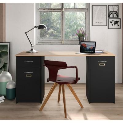 Bristol Γραφείο με 2 ντουλάπια & 1 συρτάρι 150x60εκ.  Helvezia Oak/Black