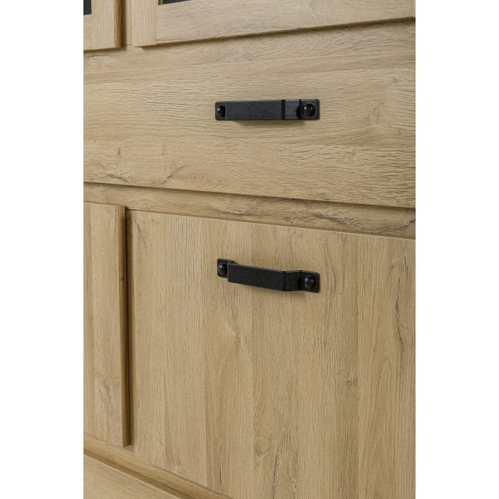 Broceliande Βιτρίνα με 4 πόρτες και 1 συρτάρι 156x50x202εκ. Grandson Oak - Τσιμέντο