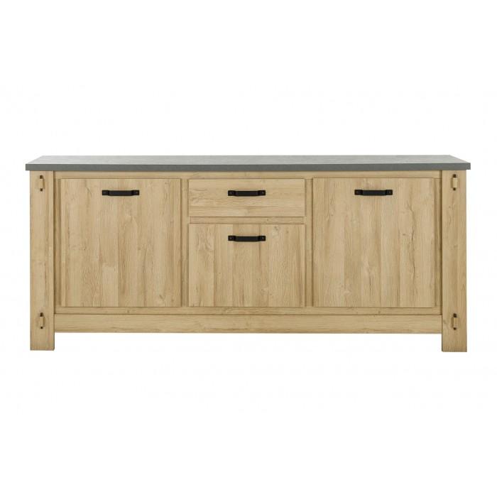 Broceliande Μπουφές με 3 πόρτες και 1 συρτάρι 222x50x95εκ. Grandson Oak - Τσιμέντο
