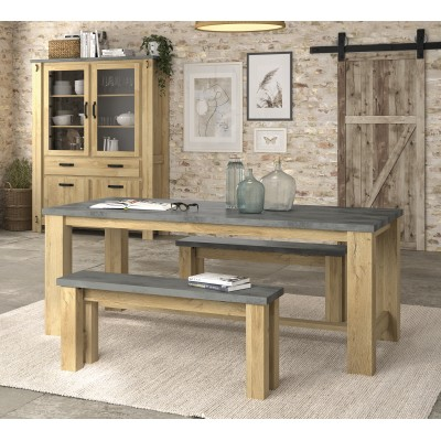 Broceliande Σετ τραπέζι ορθογώνιο 192x97εκ. με 2 παγκάκια Grandson Oak - Concrete
