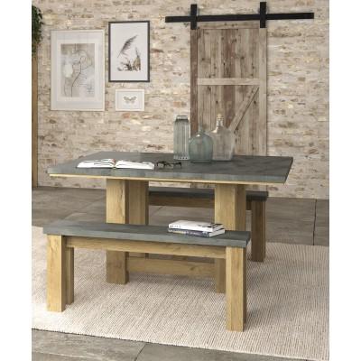 Broceliande Σετ τραπέζι τετράγωνο 140x140εκ. με 2 παγκάκια Grandson Oak - Concrete