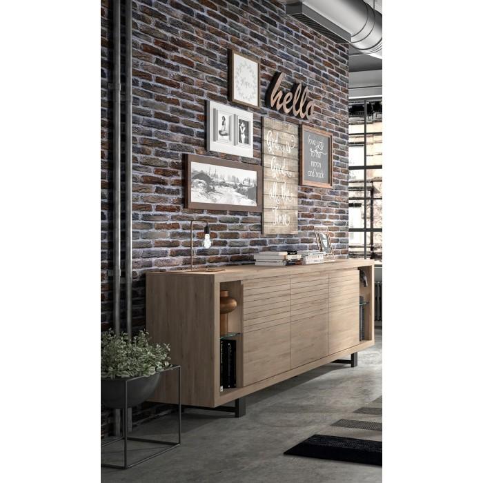 Clay Μπουφές με 3 πόρτες 220x48x88εκ. Light Kronberg Oak