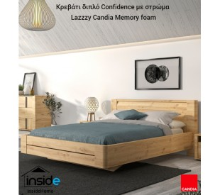 Confidence Κρεβάτι διπλό 177x210εκ. Δρυς Artisan με στρώμα 160x200εκ. Lazzzy της Candia με memory foam & ανατομικό πλαίσιο