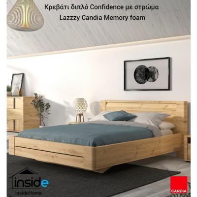 Confidence Κρεβάτι διπλό 177x210εκ.  Artisan Oak με στρώμα 160x200εκ. Lazzzy της Candia με memory foam & ανατομικό πλαίσιο