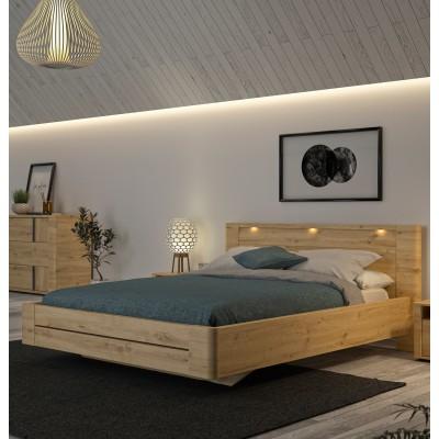 Confidence Κρεβάτι διπλό 177x210εκ. ( για στρώμα 160x200εκ. ) Δρυς Artisan με ανατομικό πλαίσιο
