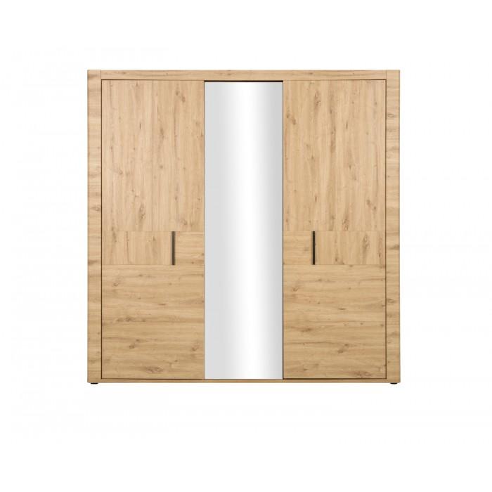 Confidence Ντουλάπα με 3 πόρτες & καθρέφτη 220x59x222εκ. Artisan Oak