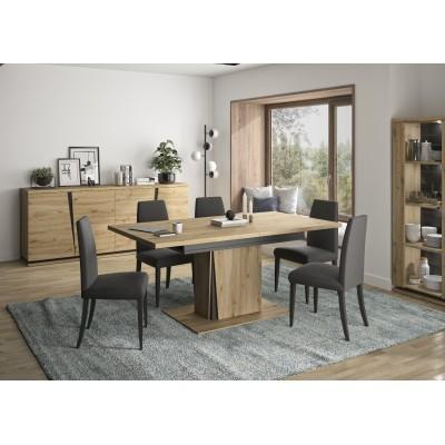 Crack Τραπέζι τραπεζαρίας επεκτεινόμενο 180/225x90εκ. Artisan Oak / Black
