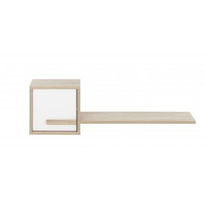 Curtys ράφι τοίχου με ντουλάπι 130x25x40εκ. Sonoma Oak / Λευκή γυαλιστερή λάκα