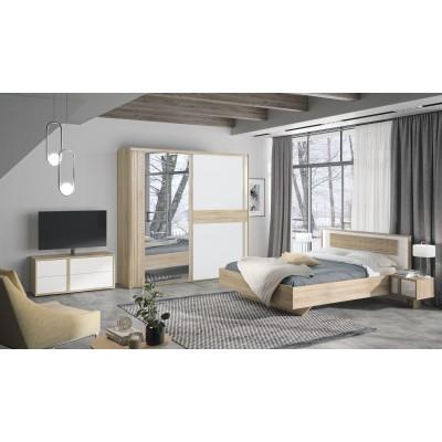 Ξενοδοχειακό πακέτο επίπλωσης Curtys Sonoma / Λευκή γυαλιστερή λάκα με δώρο σετ σεντόνια