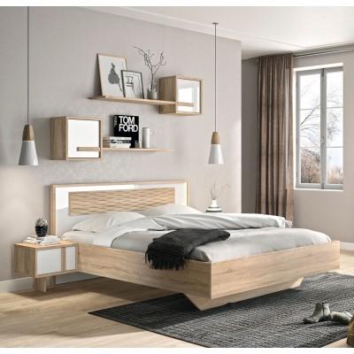 Curtys Κρεβάτι διπλό 172x201εκ. (για στρώμα 160x200εκ.) Sonoma/Λευκή Γυαλιστερή Λάκα με ανατομικό πλαίσιο