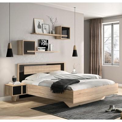 Curtys Κρεβάτι διπλό 172x204εκ. (για στρώμα 160x200εκ.) Sonoma/Μαύρη Γυαλιστερή Λάκα με ανατομικό πλαίσιο