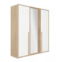Curtys Ντουλάπα με 3 πόρτες & καθρέφτη 197x60x220εκ. Sonoma Oak / Λευκή γυαλιστερή λάκα