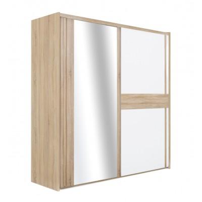 Curtys ντουλάπα με 2 συρόμενες πόρτες & καθρέφτη 221x61x214εκ. Sonoma Oak / Λευκή γυαλιστερή λάκα