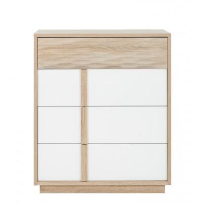 Curtys συρταριέρα με 4 συρτάρια 89x45x104εκ. Sonoma Oak / Λευκή γυαλιστερή λάκα