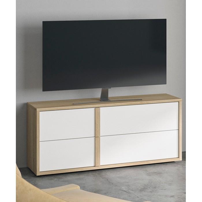 Curtys έπιπλο τηλεόρασης με συρτάρια 119x45x53εκ. Sonoma Oak / Λευκή γυαλιστερή λάκα