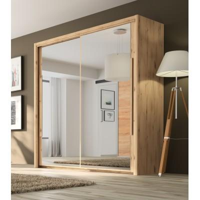 Cyrus Ντουλάπα με 2 συρόμενες πόρτες με καθρέφτη 199x63x205εκ. Helvezia Oak