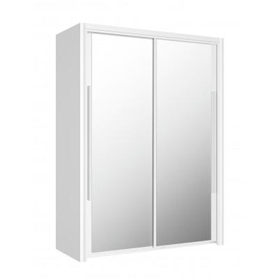 Cyrus Ντουλάπα με 2 συρόμενες πόρτες με καθρέφτη 153x63x205εκ. Λευκό