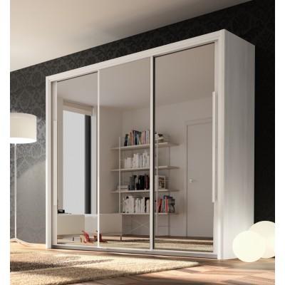 Cyrus Ντουλάπα με 3 συρόμενες πόρτες με καθρέφτη 231x63x205εκ. Whitewashed Ash