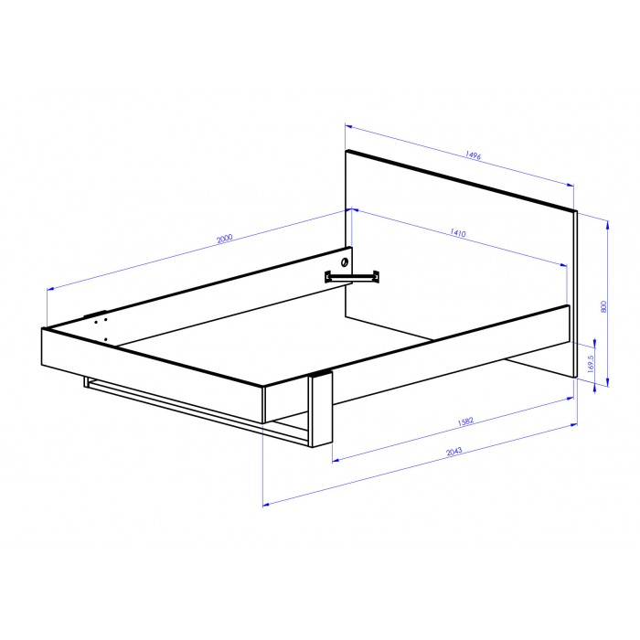 Duplex Κρεβάτι Διπλό με αποθηκευτικό συρτάρι 150x204εκ. (για στρώμα 140x200εκ. ) Black/Natural Chestnut & ανατομικό πλαίσιο στήριξης στρώματος