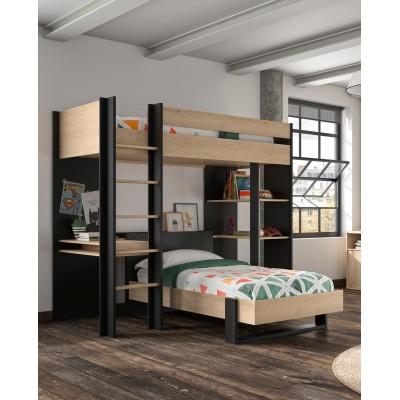 Duplex Κουκέτα ψηλή με 2 μονά κρεβάτια , γραφείο & βιβλιοθήκη Black/Natural Chestnut 210x226x192εκ.