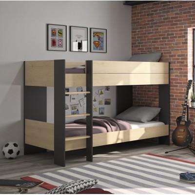 Duplex κουκέτα με 2 μονά κρεβάτια 107x205x136εκ. Natural Chestnut/Black