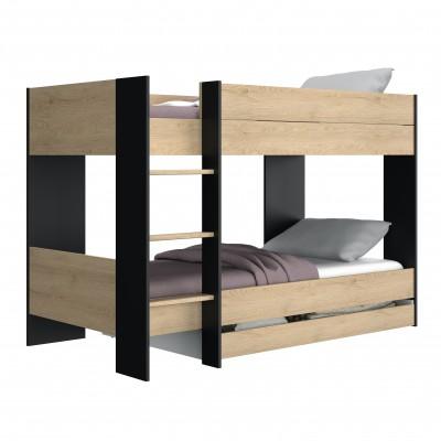 Duplex κουκέτα με 2 μονά κρεβάτια 107x205x136εκ. Natural Chestnut/Black με αποθηκευτικό συρτάρι