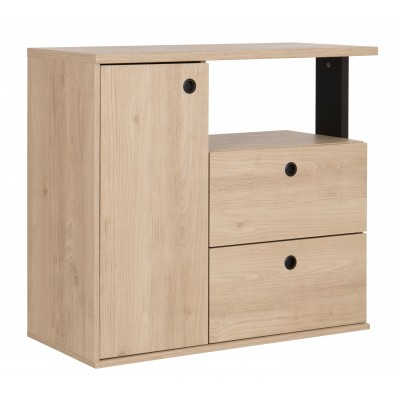 Duplex συρταριέρα με 2 συρτάρια & 1 ντουλάπι 90x40x80εκ. Black/Natural Chestnut