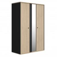 Duplex Ντουλάπα με 2 πόρτες και καθρέφτη 130x61x200εκ. Black/Natural
